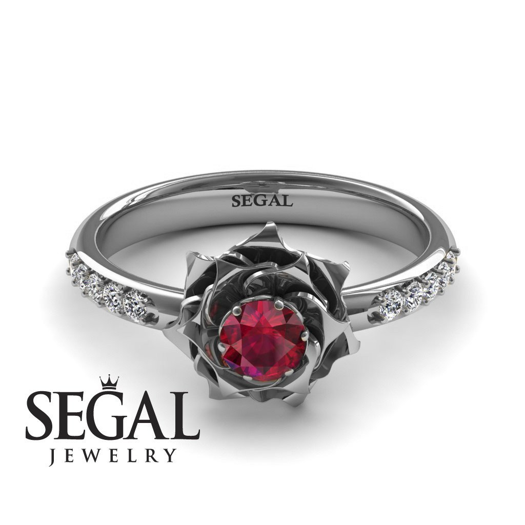 """A lady""""s Rose Ruby Engagement Ring - 14K White Gold - Elena no. 6"""